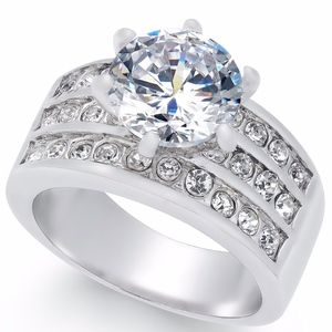 ✨ Silver-Tone Crystal Cz Triple-Row Ring